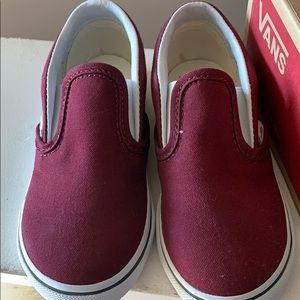 Toddler shoes vans red vine color